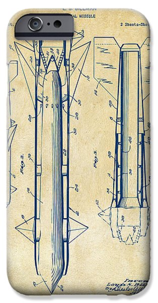 Warfare iPhone Cases - 1953 Aerial Missile Patent Vintage iPhone Case by Nikki Marie Smith