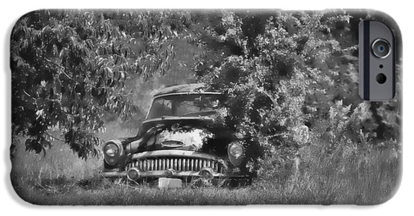 Chip iPhone Cases - 1953 Buick - Field of Dreams 1 in b/w iPhone Case by Greg Jackson