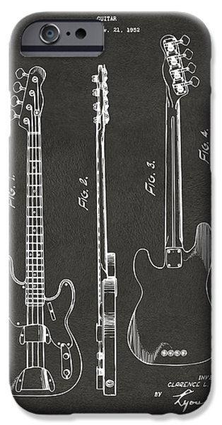 Guitar iPhone Cases - 1953 Fender Bass Guitar Patent Artwork - Gray iPhone Case by Nikki Marie Smith