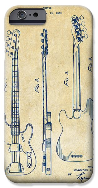 Cave Digital iPhone Cases - 1953 Fender Bass Guitar Patent Artwork - Vintage iPhone Case by Nikki Marie Smith