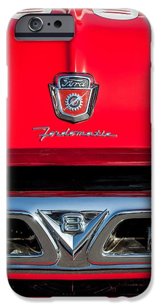 Ford Truck iPhone Cases - 1953 Ford F-100 Fordomatic Pickup Truck Grille Emblems -0108c iPhone Case by Jill Reger