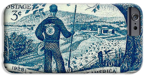 Us Postal Service iPhone Cases - 1953 Future Farmers of America Postage Stamp iPhone Case by David Patterson