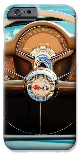 Fifties iPhone Cases - 1954 Chevrolet Corvette Convertible  Steering Wheel iPhone Case by Jill Reger