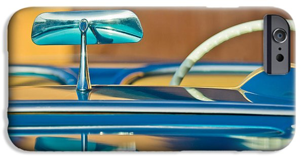 Rear View iPhone Cases - 1954 Chevrolet Corvette Steering Wheel -311c iPhone Case by Jill Reger
