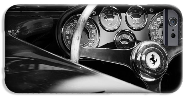 Steering iPhone Cases - 1954 Ferrari 500 Mondial Spyder Steering Wheel Emblem iPhone Case by Jill Reger