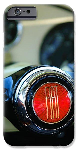 Concept Photographs iPhone Cases - 1954 Fiat 1100 Berlinetta Stanguellini Bertone Steering Wheel Emblem iPhone Case by Jill Reger