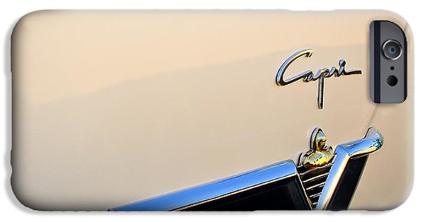 Lincoln iPhone Cases - 1954 Lincoln Capri Convertible Emblem 2 iPhone Case by Jill Reger