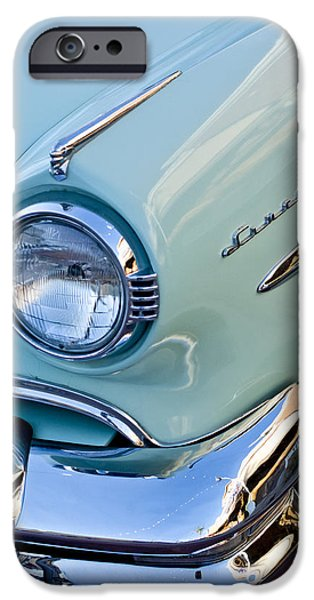 Lincoln iPhone Cases - 1954 Lincoln Capri Headlight iPhone Case by Jill Reger