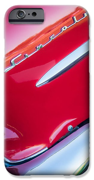 Lincoln iPhone Cases - 1954 Lincoln Capri Side Emblem iPhone Case by Jill Reger