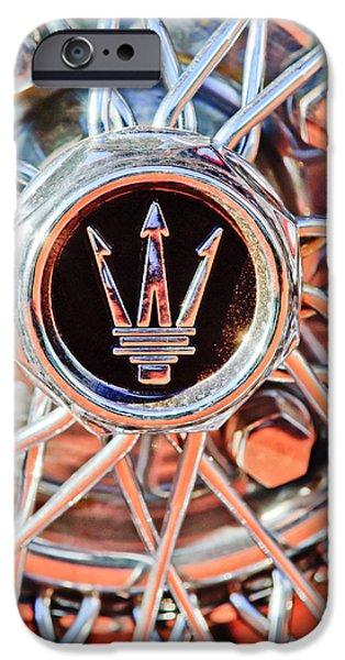 1954 Maserati A6 GCS Wheel Rim Emblem iPhone Case by Jill Reger