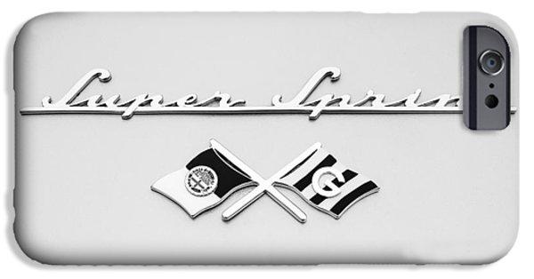 Sprint iPhone Cases - 1955 Alfa Romeo 1900 CSS Ghia Aigle Cabriolet Grille Emblem - Super Sprint Emblem -0604bw iPhone Case by Jill Reger