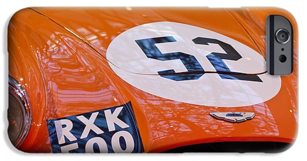 Professional Racing iPhone Cases - 1955 Aston Martin DB3S Sports Racing Car Hood 2 iPhone Case by Jill Reger