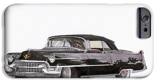 Classic Car Paintings iPhone Cases - 1955 Cadillac Series 62 Convertible iPhone Case by Jack Pumphrey