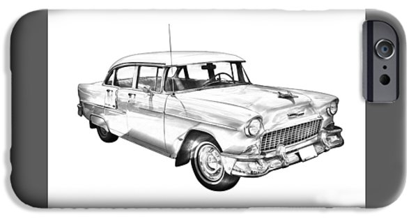 Recently Sold -  - Antiques iPhone Cases - 1955 Chevrolet Bel Air Illustration iPhone Case by Keith Webber Jr