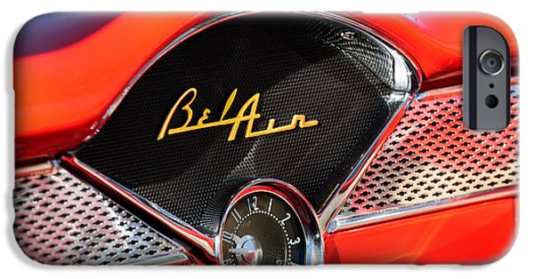 Old Cars iPhone Cases - 1955 Chevrolet Belair Dashboard Emblem Clock iPhone Case by Jill Reger