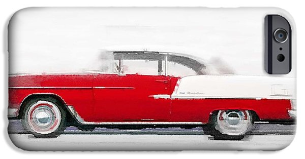 Vintage Car iPhone Cases - 1955 Chevy Bel Air Watercolor iPhone Case by Naxart Studio