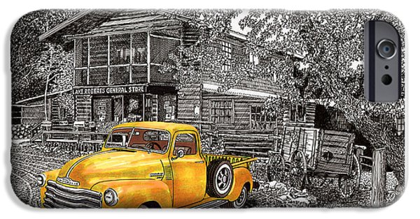 Location Drawings iPhone Cases - 1955 Chevy Pick up Truck in Lake Robers N M  iPhone Case by Jack Pumphrey