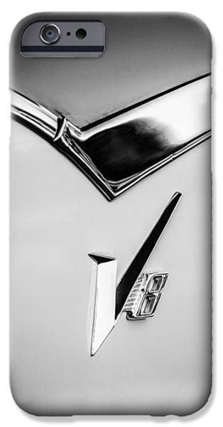 Lancer iPhone Cases - 1955 Dodge Royal Lancer V8 Emblem -0639bw iPhone Case by Jill Reger