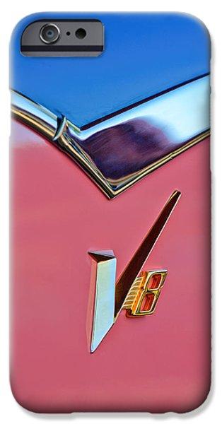 V8 iPhone Cases - 1955 Dodge Royal Lancer V8 Emblem -0639c iPhone Case by Jill Reger