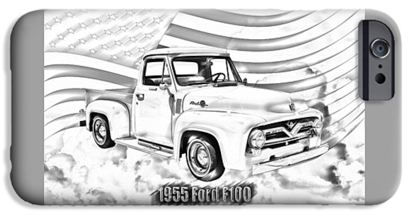 Ford Truck iPhone Cases - 1955 F100 Ford Pickup Truck and Flag iPhone Case by Keith Webber Jr