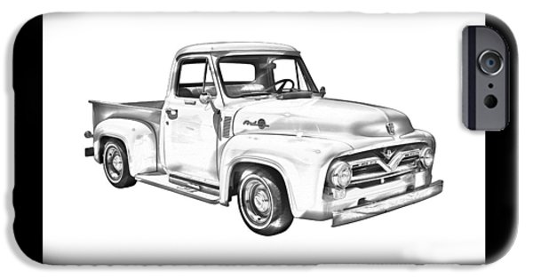 Ford Truck iPhone Cases - 1955 F100 Ford Pickup Truck Illustration iPhone Case by Keith Webber Jr