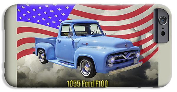 Old Truck iPhone Cases - 1955 F100 Ford Pickup Truck with US Flag iPhone Case by Keith Webber Jr