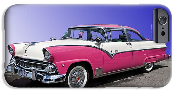 Cars Digital Art iPhone Cases - 1955 Ford Crown Victoria iPhone Case by Gianfranco Weiss