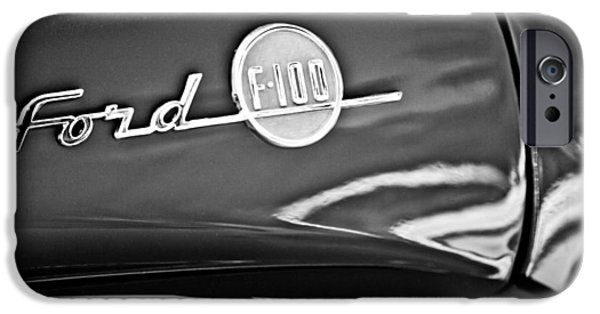 1956 Ford Truck iPhone Cases - 1955 Ford F-100 Pickup Truck Side Emblem -3515bw iPhone Case by Jill Reger