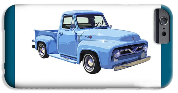 Ford Truck iPhone Cases - 1955 Ford F100 Blue Pickup Truck Canvas iPhone Case by Keith Webber Jr
