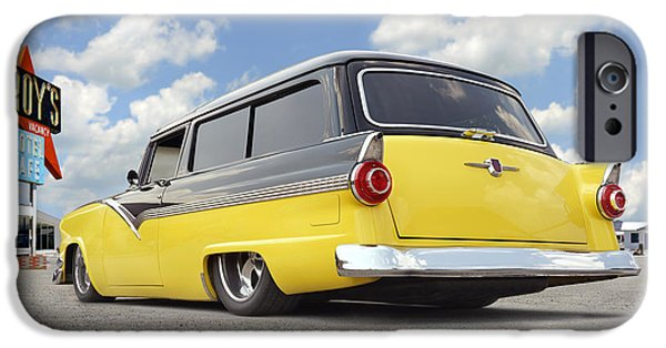 Station Wagon iPhone Cases - 1955 Ford Parkline Low iPhone Case by Mike McGlothlen