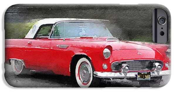 Old Cars iPhone Cases - 1955 Ford Thunderbird Watercolor iPhone Case by Naxart Studio