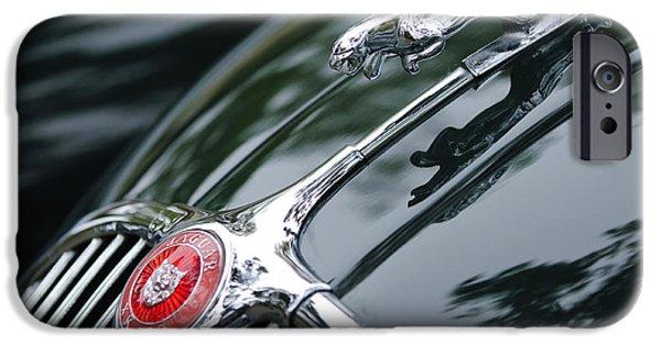 Jaguars iPhone Cases - Jaguar XK 150 Hood Ornament  iPhone Case by Jill Reger