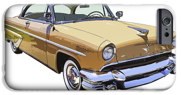 Lincoln iPhone Cases - 1955 Lincoln Capri Fine Art Illustration  iPhone Case by Keith Webber Jr