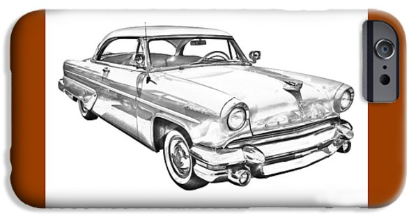 Lincoln iPhone Cases - 1955 Lincoln Capri Luxury Car Illustration iPhone Case by Keith Webber Jr