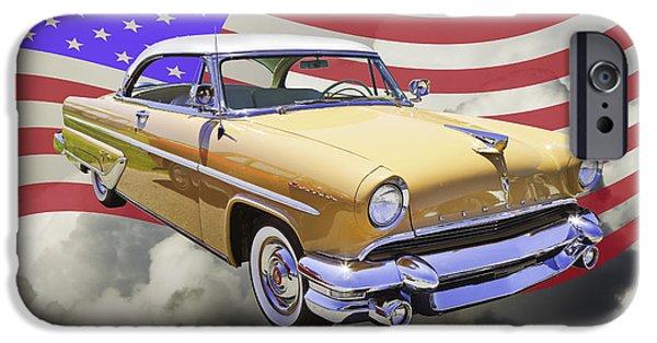 American Flag Digital Art iPhone Cases - 1955 Lincoln Capri Luxury Car iPhone Case by Keith Webber Jr
