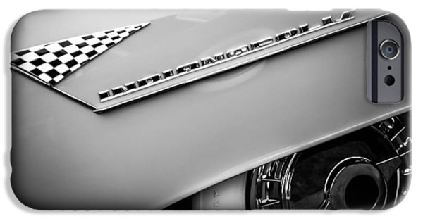 Lincoln iPhone Cases - 1955 Lincoln Indianapolis Boano Coupe Emblem -0295bw iPhone Case by Jill Reger