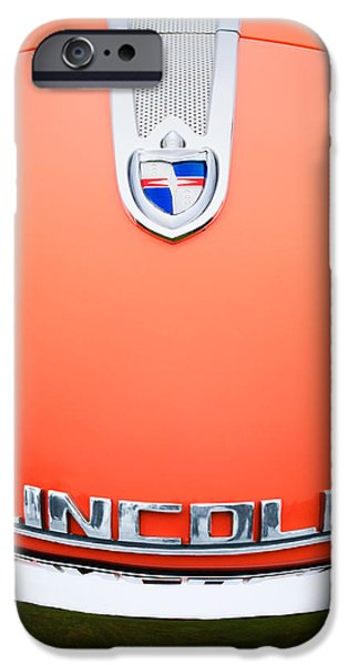 Lincoln iPhone Cases - 1955 Lincoln Indianapolis Boano Coupe Emblem iPhone Case by Jill Reger