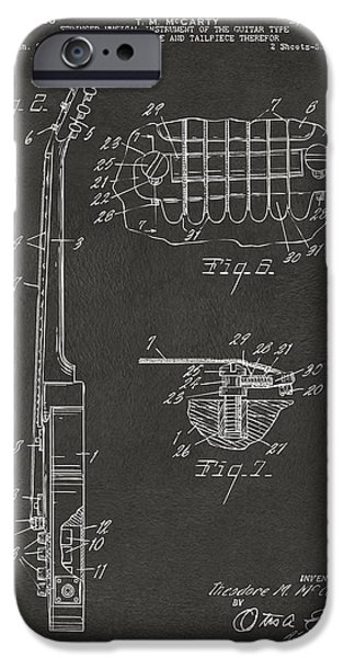 Guitarist Digital Art iPhone Cases - 1955 McCarty Gibson Les Paul Guitar Patent Artwork 2 - Gray iPhone Case by Nikki Marie Smith
