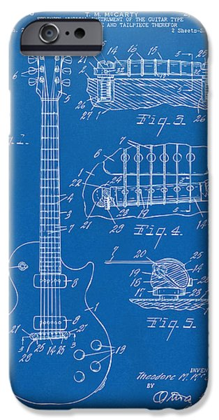 Electric Drawings iPhone Cases - 1955 McCarty Gibson Les Paul Guitar Patent Artwork Blueprint iPhone Case by Nikki Marie Smith