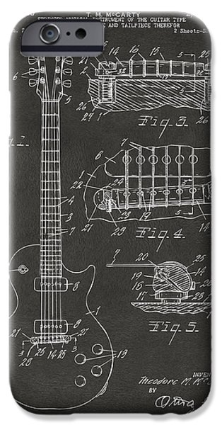 Vintage Drawings iPhone Cases - 1955 McCarty Gibson Les Paul Guitar Patent Artwork - Gray iPhone Case by Nikki Marie Smith