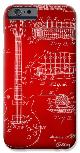 Electric Drawings iPhone Cases - 1955 McCarty Gibson Les Paul Guitar Patent Artwork Red iPhone Case by Nikki Marie Smith