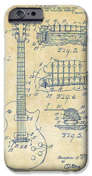 Sectioned iPhone Cases - 1955 McCarty Gibson Les Paul Guitar Patent Artwork Vintage iPhone Case by Nikki Marie Smith
