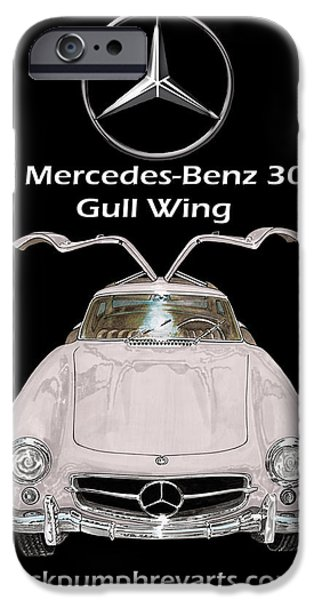 At Poster Mixed Media iPhone Cases - 1955 Mercedes Benz 300 S L Gull Wing iPhone Case by Jack Pumphrey