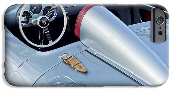 Automotive Photographer iPhone Cases - 1955 Porsche Spyder  iPhone Case by Jill Reger