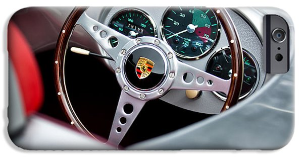 Steering iPhone Cases - 1955 Porsche Spyder Replica Steering Wheel Emblem iPhone Case by Jill Reger