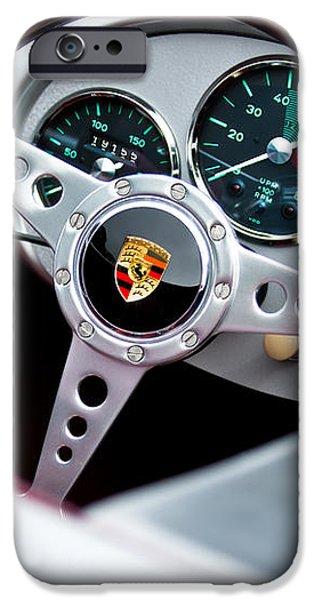 1955 Porsche Spyder Replica Steering Wheel Emblem iPhone Case by Jill Reger