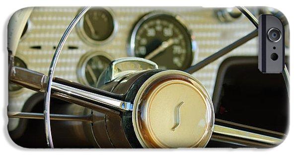 President iPhone Cases - 1955 Studebaker President Steering Wheel Emblem iPhone Case by Jill Reger