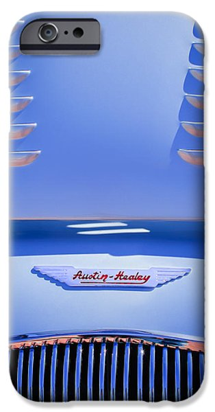 1956 iPhone Cases - 1956 Austin-Healey 100M BN2 Factory Le Mans Competition Roadster Hood Emblem iPhone Case by Jill Reger