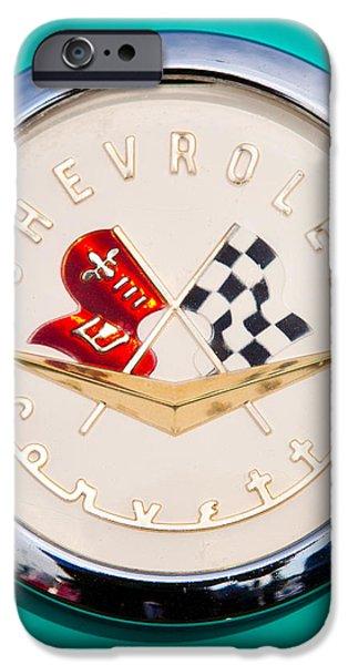 1956 Chevy Corvette Emblem iPhone Case by David Patterson