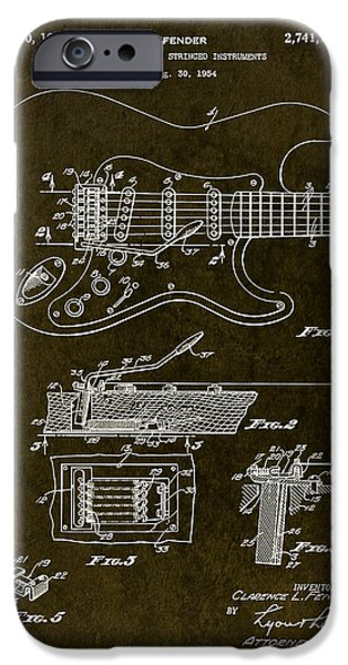 Stratocaster Drawings iPhone Cases - 1956 Fender Tremolo Patent Drawing iPhone Case by Gary Bodnar
